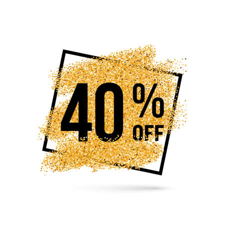 forty: Gold Discount Background for Sale Sign with Forty Percent Illustration