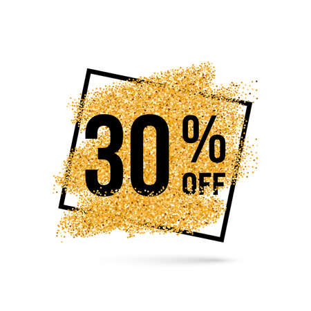 thirty: Gold Discount Background for Sale Sign with Thirty Percent Illustration