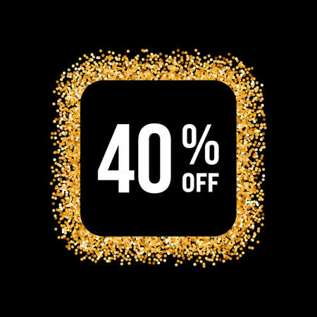 40: Golden Frame on Black Background with Text Forty Percent Off Illustration