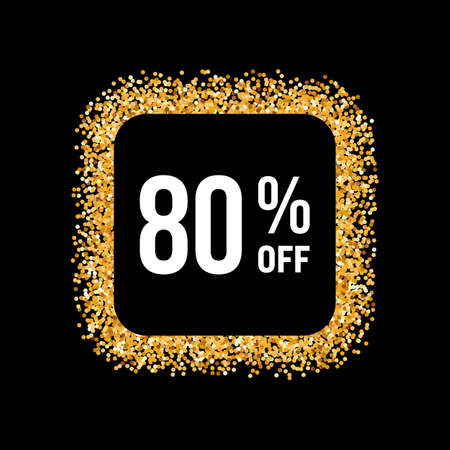 eighty: Golden Frame on Black Background with Text Eighty Percent Off