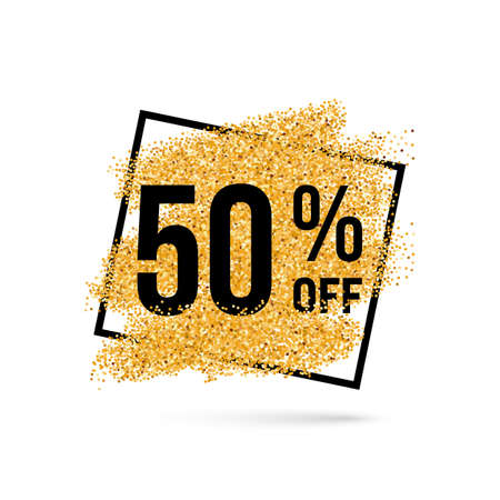 Gold Discount Background for Sale Sign with Fifty Percent