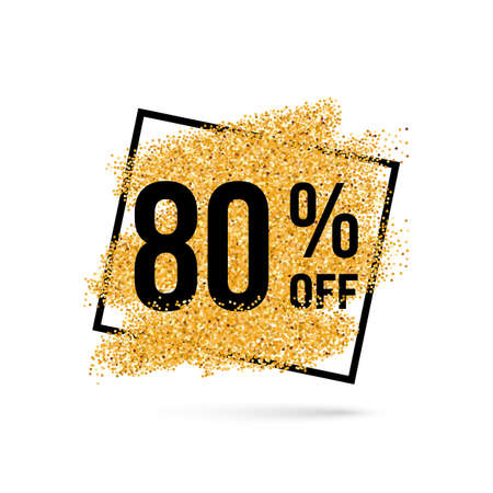 eighty: Gold Discount Background for Sale Sign with Eighty Percent