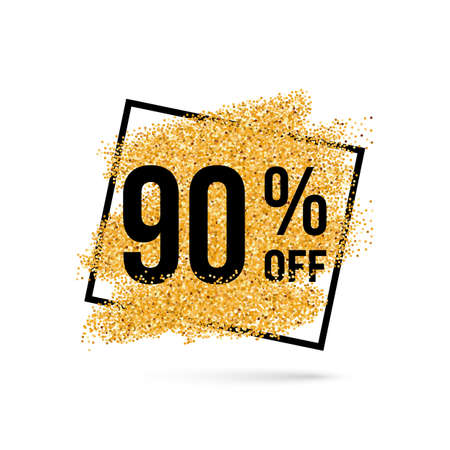 ninety: Gold Discount Background for Sale Sign with Ninety Percent