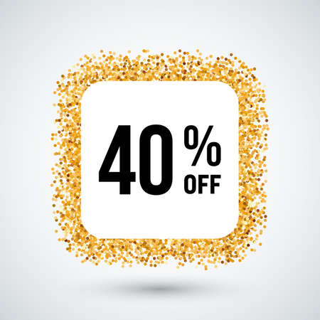 forty: Golden Frame with Discount Forty Percent for Design