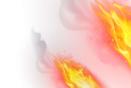 burn: Realistic Fire Flames Effect on White Background