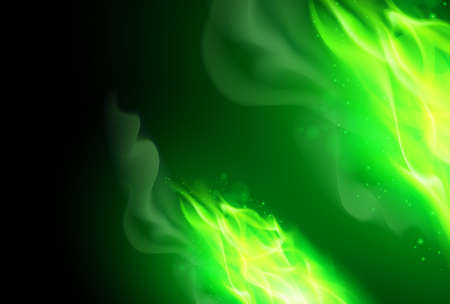 Realistic Green Fire Flames Effect on Black Background
