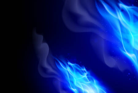 Realistic Blue Fire Flames Effect on Black Background