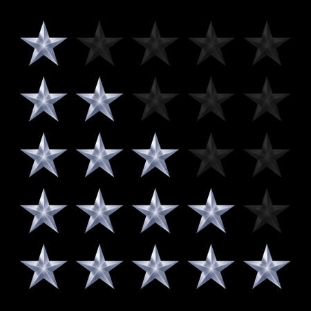 favorite number: Simple Stars Rating. Silver Shapes with Shadow on Black