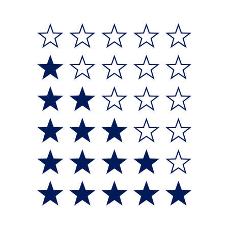 favorite colour: Simple Stars Rating. Dark Blue Shapes on White Background
