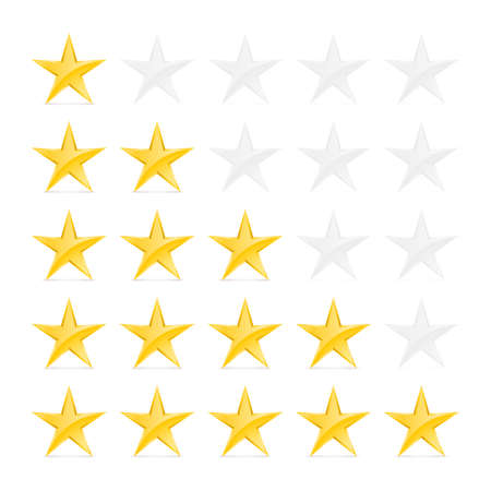 favorite number: Simple Stars Rating. Gold Shapes with Shadow on White Background