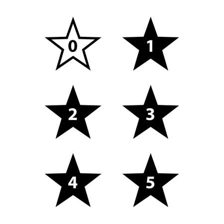 web buttons: Simple Stars Rating. Black Shapes on White Background Illustration