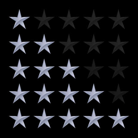 favorite number: Simple Stars Rating. Silver Shapes with Shadow on Black Background
