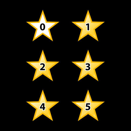 favorite number: Simple Stars Rating. Yellow Shapes on Black Background Illustration