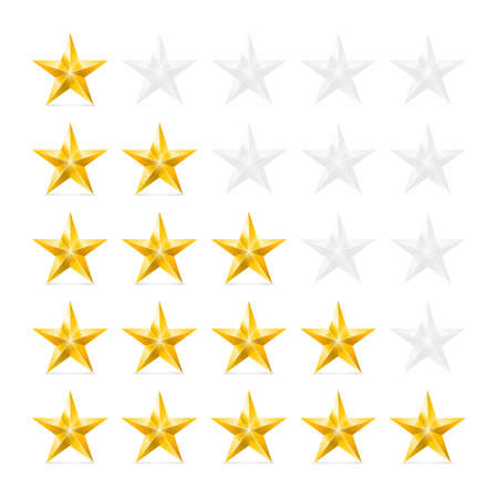 Simple Stars Rating. Gold Shapes with Shadow on White Illustration