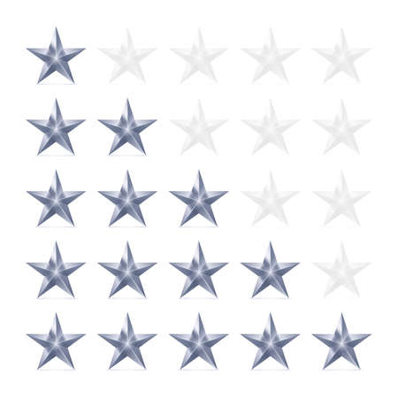 favorite number: Simple Stars Rating. Silver Shapes with Shadow on White