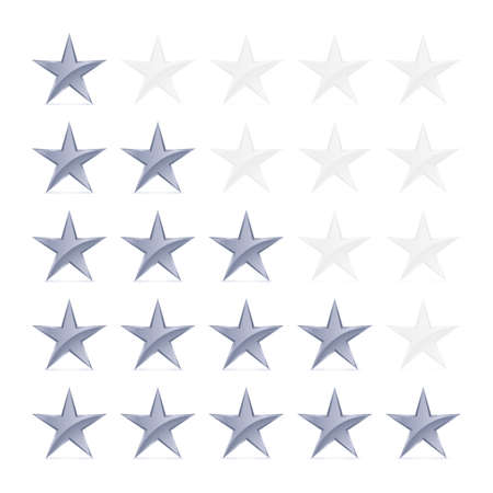 favorite number: Simple Stars Rating. Silver Shapes with Shadow on White Background