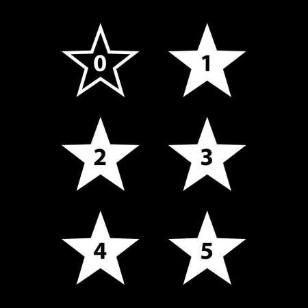 favorite number: Simple Stars Rating. White Shapes on Black Background