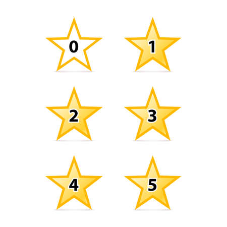 estimation: Simple Stars Rating. Yellow Shapes with Shadow on White Background