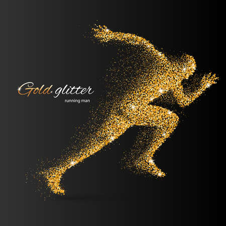 quickness: Running Man in the Form of Gold Particles on Black