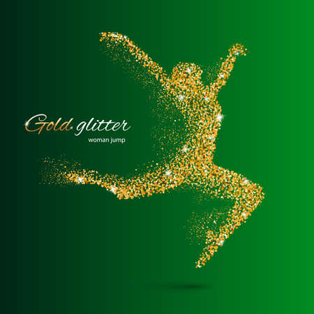 Dancing Woman in the Form of Gold Particles on Green Illustration