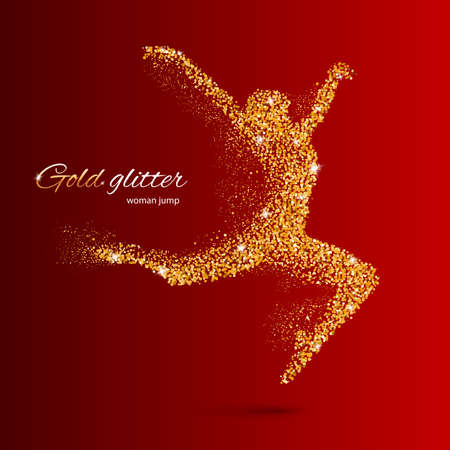 festival moment: Dancing Woman in the Form of Gold Particles on Red
