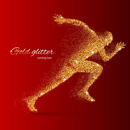 quickness: Running Man in the Form of Gold Particles on Red Illustration