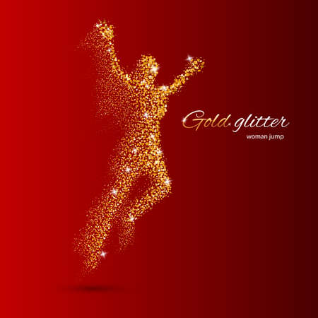 exceed: Jumping Woman in the Form of Gold Particles on Red