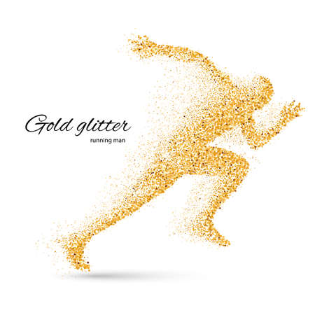 move: Running Man in the Form of Gold Particles on White Illustration