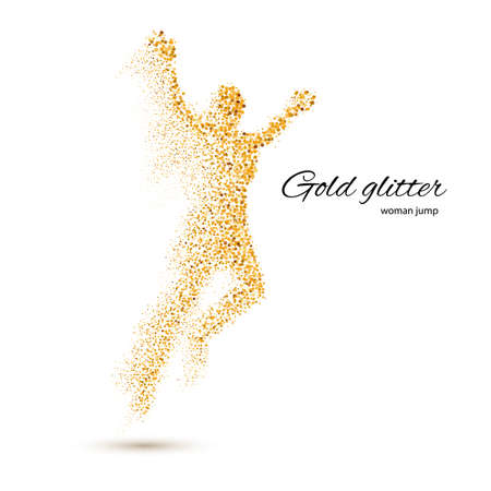 runner: Jumping Woman in the Form of Gold Particles on White