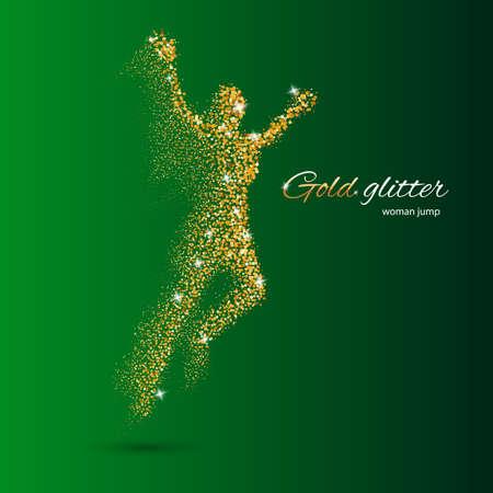 La mujer que salta en forma de oro partículas en verde