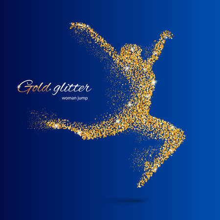 festival moment: Dancing Woman in the Form of Gold Particles on Blue