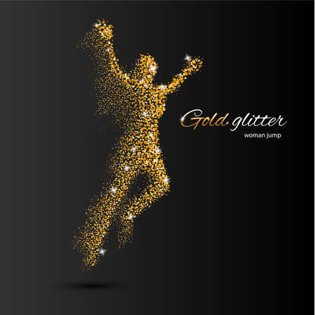 silhouettes people: Jumping Woman in the Form of Gold Particles on Black