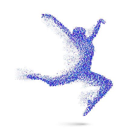 quickness: Dancing Woman in the Form of Blue Particles on White Illustration