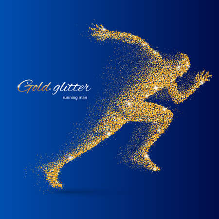quickness: Running Man in the Form of Gold Particles on Blue