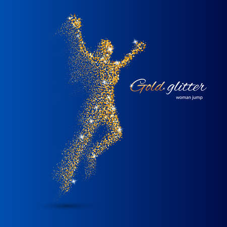 Jumping Woman in the Form of Gold Particles on Blue