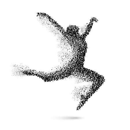 Baile de la mujer en la forma de negro de partículas en el blanco