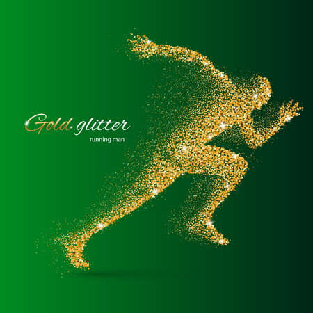quickness: Running Man in the Form of Gold Particles on Green