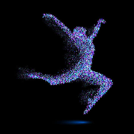 quickness: Dancing Woman in the Form of Blue Particles on Black Illustration