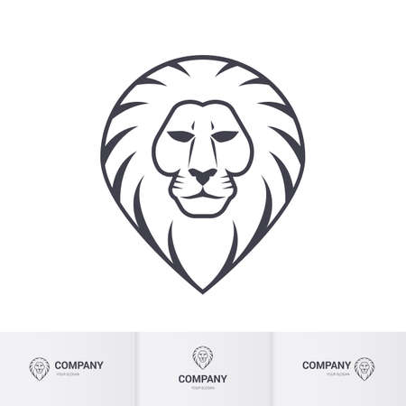 head for: Lion Head for Heraldic or Mascot Design on White