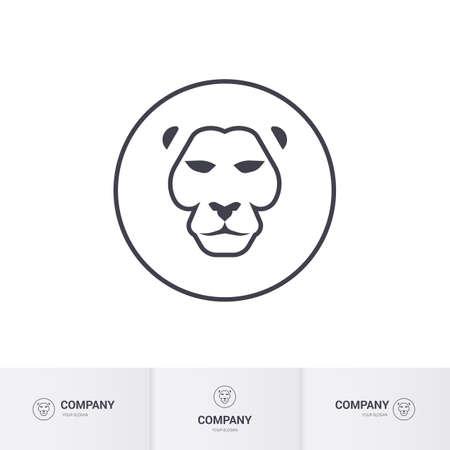 royal safari: Lion Head for Heraldic or Mascot Design. Premium Template on White Background