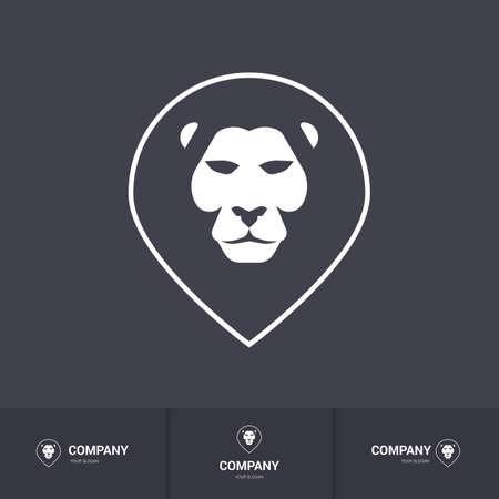 royal safari: Lion Head for Heraldic or Mascot Design. Logo Template on Dark Background
