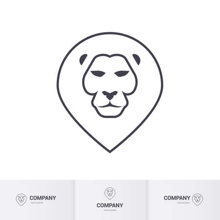 head for: Lion Head for Heraldic or Mascot Design on White Background