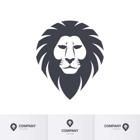 Lion Head for Heraldic or Mascot Design. Illustration on White Background  イラスト・ベクター素材