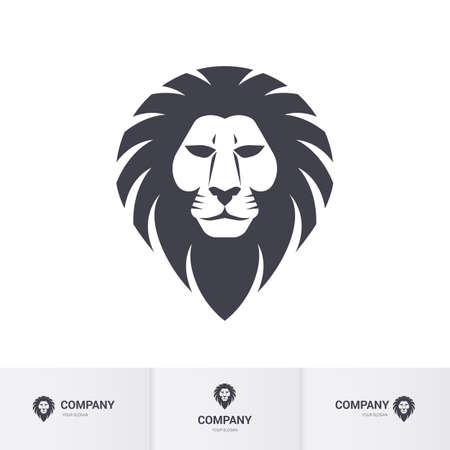 ライオン ヘッドの紋章やマスコット デザイン。白い背景の上の図  イラスト・ベクター素材