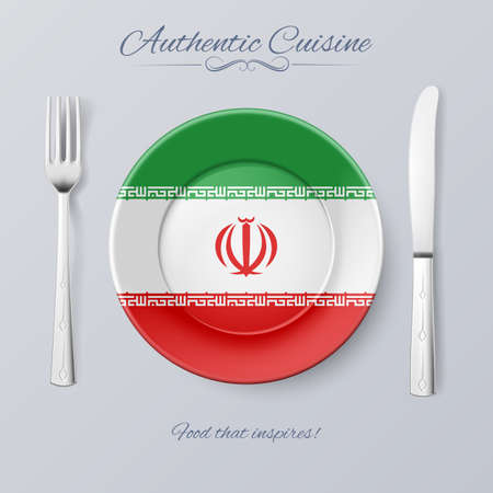 iranian: Authentic Cuisine of Iran. Plate with Iranian Flag and Cutlery