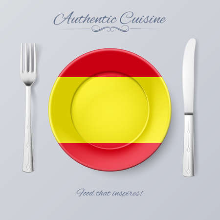 authentic: Authentic Cuisine of Spain. Plate with Spanish Flag and Cutlery