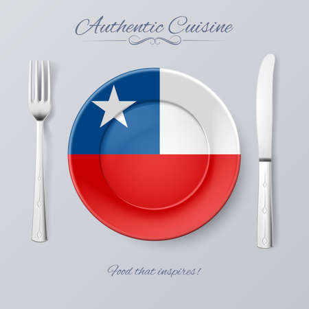 chilean flag: Authentic Cuisine of Chile. Plate with Chilean Flag and Cutlery
