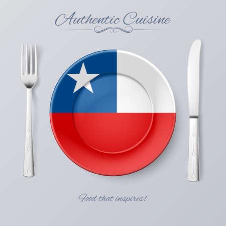 bandera chilena: Cocina auténtica de Chile. Placa con la bandera chilena y cubiertos