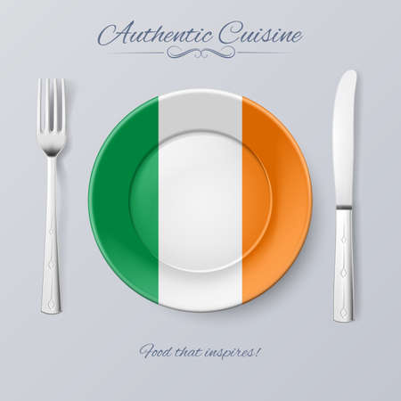 irish history: Authentic Cuisine of Ireland. Plate with Irish Flag and Cutlery