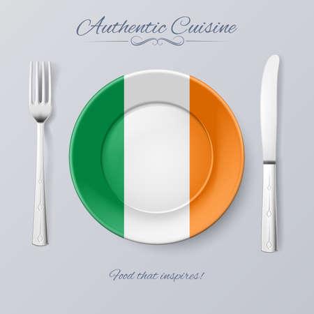 irish pride: Authentic Cuisine of Ireland. Plate with Irish Flag and Cutlery